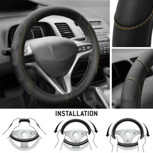 Synthetic Leather Steering Wheel Cover Black W Beige Stitching Sport Grip Small