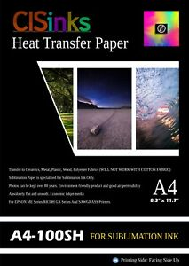 100 Sheets A4 8 27 X 11 7 Sublimation Ink Heat Transfer Paper Inkjet Printer