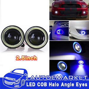 High Power Led Projector Fog Light W Blue Cob Halo Angel Eye Rings For Nissan