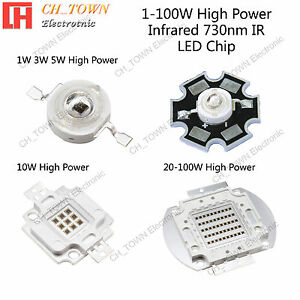 1w 3w 5w 10w 20w 30w 50w 100w Infrared Ir 730nm High Power Led Smd Chip Cob Lamp