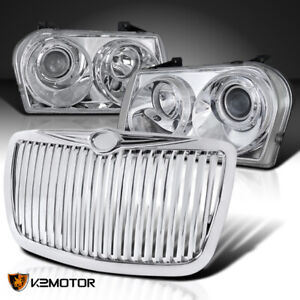 For 2005 2010 Chrysler 300 Clear Projector Headlights bumper Vertical Hood Grill