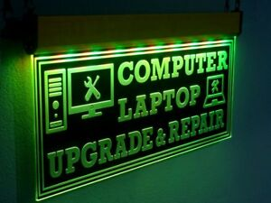 H020 Large Quality Computer Repair Led Sign Laptop Neon Open Light Pc Upgrade 20