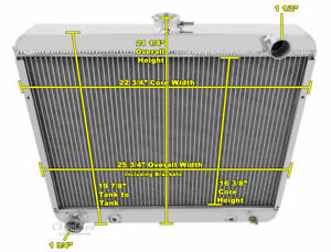 1970 1972 Big Block Mopar Radiator Polished Aluminum 3 Row Champion Radiator