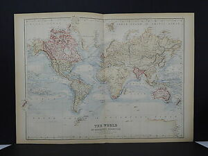 Antique Map Black S 1862 Double Page The World Mercator S Projection M7 47