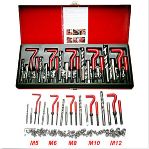 131pc Stripped Thread Helicoil Repair Kit Fit M5 M6 M8 M10 M12 Twist Drill Bits