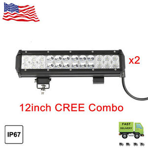 2x 12inch 72w Cree Led Work Light Bar Combo Offroad Car Jeep Suv Atv Truck 4x4
