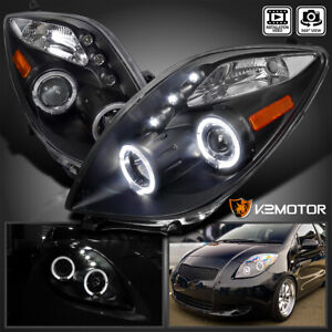 For 2006 2008 Toyota Yaris Replacement Black Led Angeleyes Projector Headlights