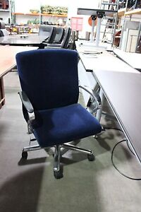 Brayton Conference Chair Blue Mohair