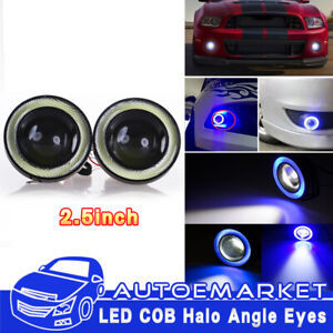 2x Car Angel Eye Cob Blue Halo Ring Led Drl Projector Lens Fog Driving Light Suv