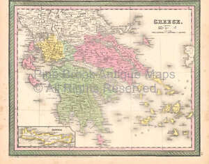 Greece Crete Vintage Map Desilver 1855 Original