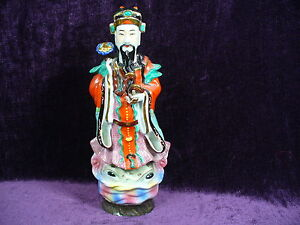 Antique Chinese Famille Rose Porcelain Statue God Of Fortune 14 Excellent