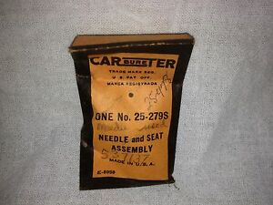 Studebaker Carter Carburetor Needle And Seat Nos 537137 Items 2254