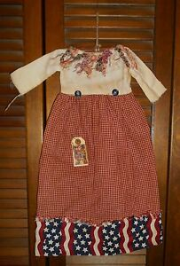 Primitive Americana Wall Dress Grungy Decor Patriotic 4th Of July Ragged Collar