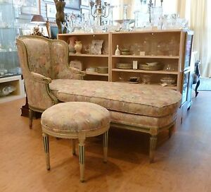 Antique French 2nd Empire Polychrome Wood Chaise Longue Lounge Ottoman Philapa