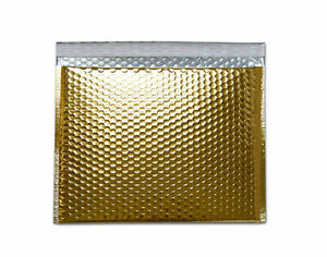 13 75 X 11 Gold Color Metallic Glamour Bubble Mailers Padded Envelopes 50 Pcs