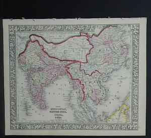Antique Map Mitchell 1865 India Tibet China Others M8 20