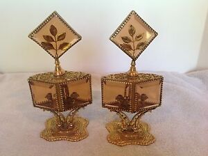 Rare Set 2 Antiq Vtg Gold Gilt Filigree Rose Beveled Glass Ormolu Perfume Daub