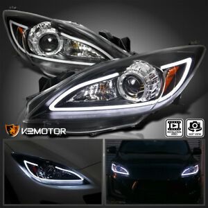 For 2010 2013 Mazda 3 Black Led Strip Projector Headlights Lamps Pair Left Right