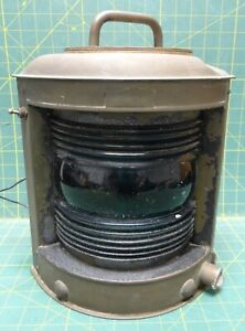 Large Vintage Perko Brass Maritime Nautical Navigation Starboard Corner Light