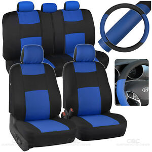 Black Blue Car Seat Covers For Auto W 2 Tone Pu Leather Steering Wheel Cover