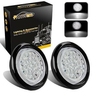 2pc 4 Round Backup Reverse Fog Lights W Rubber Mount 30 Led Truck Trailer White