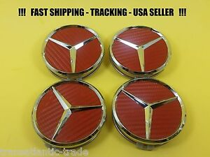 Center Wheel Cap Red Carbon Fit Mercedes Benz 75mm S Ml Gl E C Usa Emblem Caps