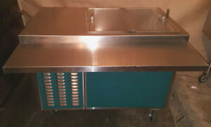 Refrigerated Cart Serving Line Servo lift piper Products Cafeteria Reach Cooler