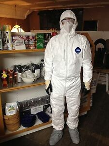 12 Suits Dupont Tyvek Coverall Suit With Hood And Boots Ty122s Size Med