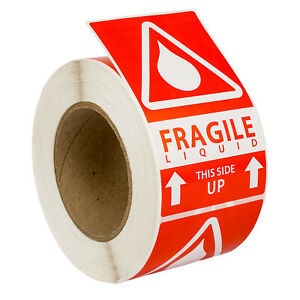 6 Rolls 500 Labels 3x5 3 X 5 Pre printed Fragile Liquid This Way Up Labels