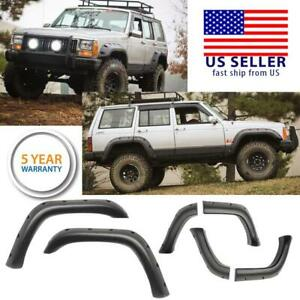 Pocket Style 5 Fender Flares Abs Matt Black For 1984 2001 Jeep Cherokee Xj 4dr