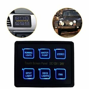 12v 24v 6 Gang Led Switch Panel Slim Touch Control Panel Box For Car Marine Boat