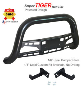 Bull Bar 1998 2004 Chevy S10 Chrome Push Bumper Guard In Black Stainless Steel