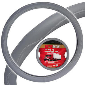 Heay Duty Big Rig Steering Wheel Covers 18 Inch Odorless Gray Syn Leather