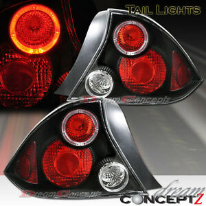 2001 2003 Honda Civic 2 Door Coupe Only Led Halo Tail Lights Black Housing Pair
