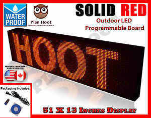Red 51 x13 Led Programmable Scrolling Sign Outdoor 100 Water Proof