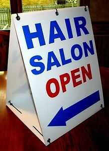 Hair Salon Open With Arrow 2 sided Sandwich Board Sign Kit New
