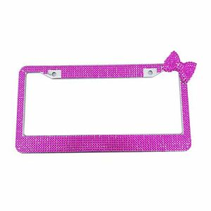 Pure Handmade Bling Rhinestone Stainless Steel Deep Pink Bow License Plate Frame