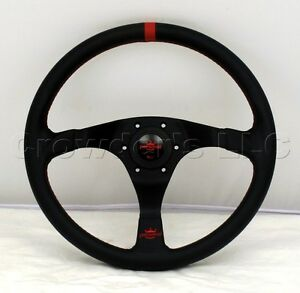 Personal 350mm Trophy Steering Wheel Black Leather With Red Accents 6518 35 2072