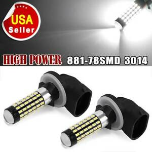 2x White 6000k 881 Led Bulb 78smd 3014 Fog Driving Light Drl 862 889 894