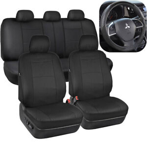 Black Pu Leather Seat Covers For Car Auto Sport Grip Steering Wheel Cover