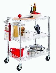 3 tier Rolling Wire Utility Cart With Basket Wheels