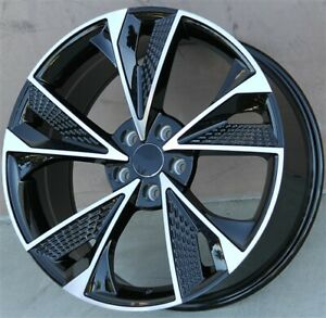 Set 4 19x8 5 5x112 45mm Black Wheels Tires Pkg Cc Eos Gti Golf Jetta Passat