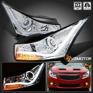 For 2011 2014 Chevy Cruze Halo Led Strip Clear Projector Headlights Head Lamps