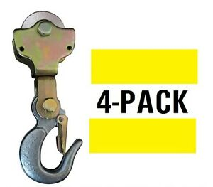 4 pack 2ton Wire Rope Pulley Block W Swivel Eye Hoist Hook Snatch Block