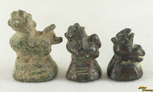 Circa 1900 Opium Weight Chinze Myhtical Lion Shape Small Size Set Of 3 Original