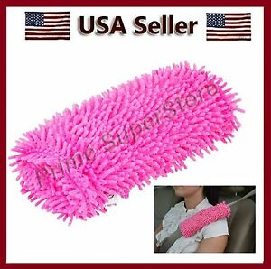 Pink Shaggy Seat Belt Comfort Covers dress Pad No Neck Shoulder Tention Seatbelt
