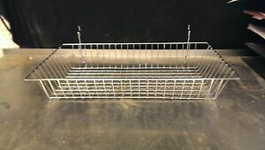N19 Lot Of 6 Peg Board Wall Wire Basket Baskets 12 X 24 X 4 Chrome New