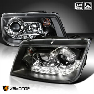 For 1999 2005 Vw Jetta Led Drl Strip Projector Headlights Black Replacement Pair