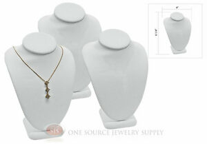 3 6 1 4 Pendant Necklace White Leather Neck Form Jewelry Presentation Display