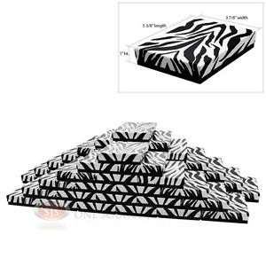 50 Zebra Print Cotton Filled Jewelry Gift Boxes 5 3 8 X 3 7 8 X 1 h